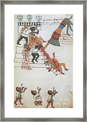Aztec Human Sacrifice, Codex Tudela Framed Print by Photo Researchers