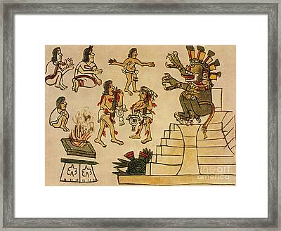 Aztec Priests Appease Mictlantecuhtli Framed Print by Photo Researchers