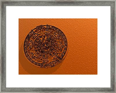 Aztec Sun Stone, Artwork Framed Print by Victor Habbick Visions