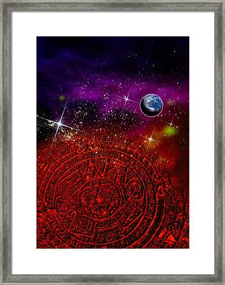 Aztec Sun Stone, Conceptual Artwork Framed Print by Victor Habbick Visions