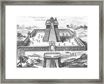 Aztec Temple At Tenochtitlan Framed Print by Photo Researchers