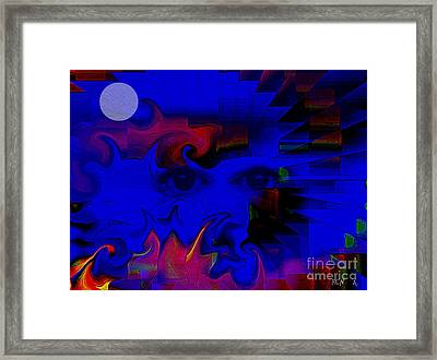 Aztec Woman Of The Moon Framed Print by Rene Avalos