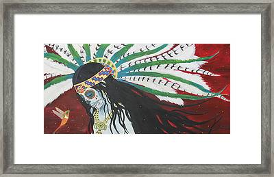 Azteca Con Hummingbird Framed Print by Sonia Orban-Price