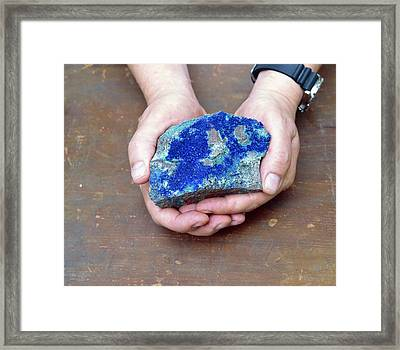 Azurite Mineral Sample Framed Print by Martin Bond