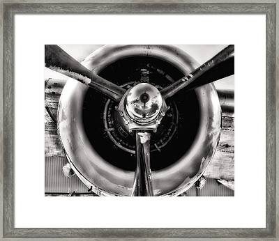 B-25 Prop Hdr Monochromatic Framed Print by Lynnette Johns