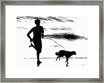 B And W Beach Scene 3 Framed Print by Brian D Meredith