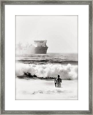 B And W Beach Scene 4 Framed Print by Brian D Meredith