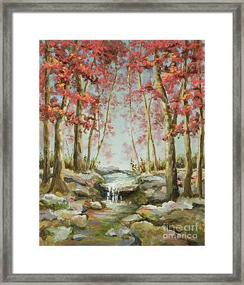 Framed Print featuring the painting Babbling Brook by Vic  Mastis