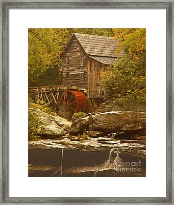 Babcock Glade Creek Grist Mill Autumn  Framed Print by Nature Scapes Fine Art