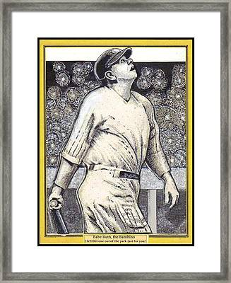 Babe Ruth Hits One Out Of The Park  Framed Print by Ray Tapajna