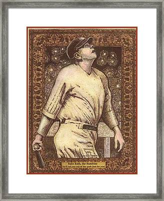 Babe Ruth The Bambino  Framed Print by Ray Tapajna