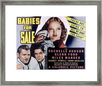 Babies For Sale, Glenn Ford Center, 1940 Framed Print by Everett