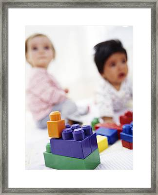 Babies With Building Blocks Framed Print by Ian Boddy
