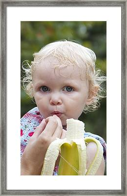 Baby And Banana Framed Print by Holst Photography