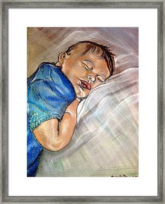 Framed Print featuring the pastel baby Baptism by Amanda Dinan