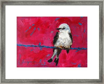 Baby Bird On A Wire Framed Print