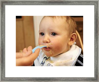 Baby Boy Being Fed Framed Print by Tek Image