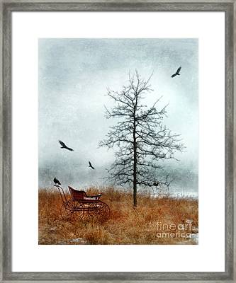 Baby Buggy By Tree With Nest And Birds Framed Print by Jill Battaglia