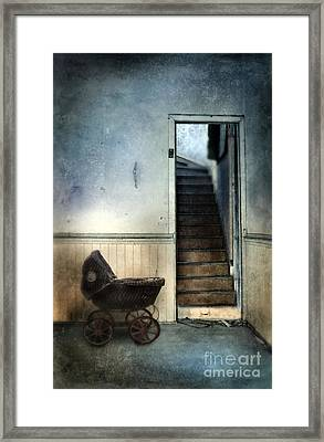 Baby Buggy In Abandoned House Framed Print by Jill Battaglia