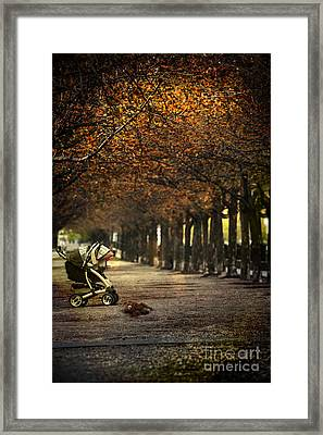 Baby Carriage With Toy Bear Alone On Street Framed Print by Sandra Cunningham