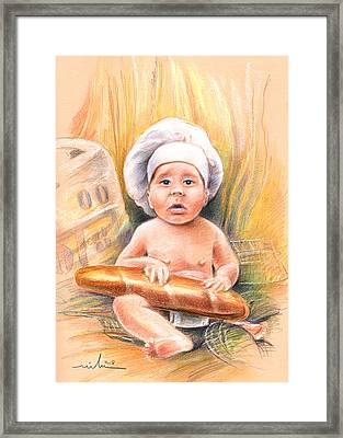 Baby Cook With Baguette Framed Print