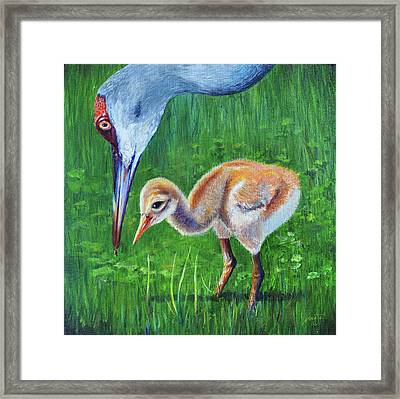 Framed Print featuring the painting Baby Crane's Lesson by AnnaJo Vahle
