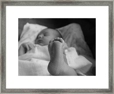 Baby Foot Framed Print by Elizabeth  Sullivan