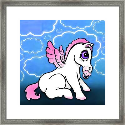 Baby Pegasus With Binky - Pink Framed Print by Lisa A Bello