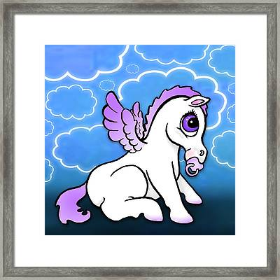 Baby Pegasus With Binky - Purple Framed Print by Lisa A Bello