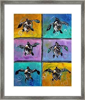 Baby Sea Turtles Six Framed Print by J Vincent Scarpace