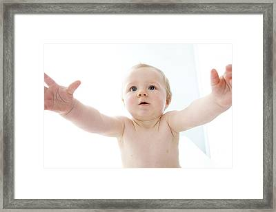 Baby With Arms Outstretched Framed Print by Ruth Jenkinson