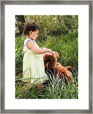 Baby With Teddy Bear Framed Print