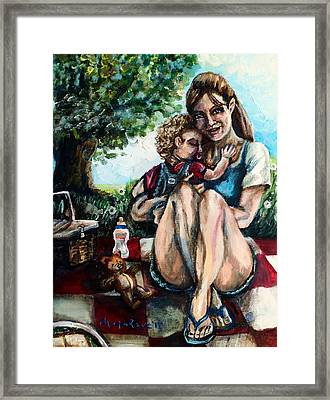 Baby's First Picnic Framed Print by Shana Rowe Jackson