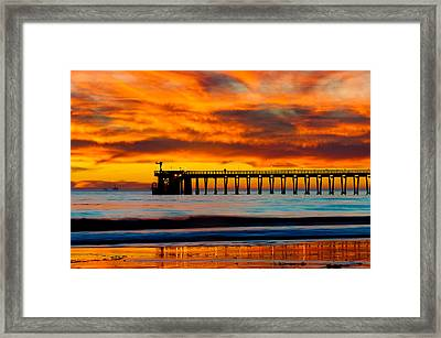 Bacara Haskell Beach And Pier Santa Barbara  Framed Print