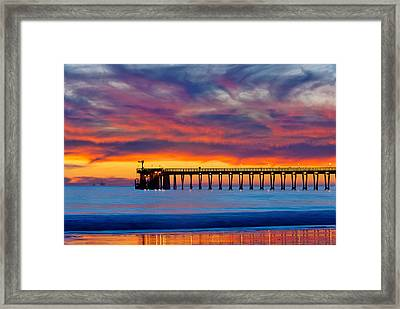 Bacara Haskells Beach And Pier Santa Barbara  Framed Print
