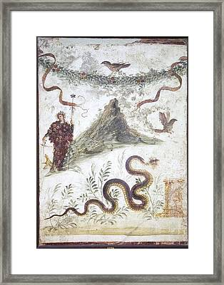 Bacchus And Vesuvius, Roman Fresco Framed Print by Sheila Terry
