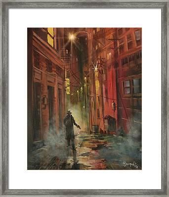 Back Alley Justice Framed Print by Tom Shropshire