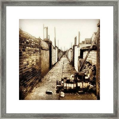 Back Alley #wall #bricks #alley #sky Framed Print