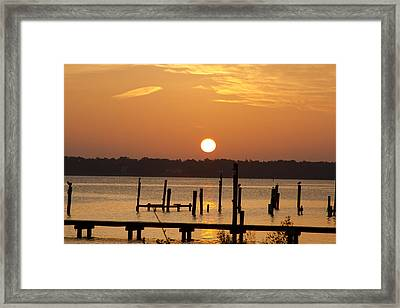 Back Bay Biloxi Sunrise Framed Print by Diane Carlisle