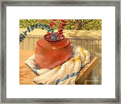 Framed Print featuring the painting Back Porch Crockery by Bob  George