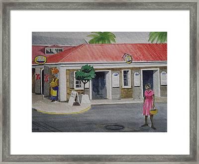 Back Street- Charlotte Amalie Framed Print by Robert Rohrich