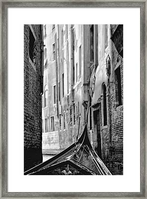 Framed Print featuring the photograph Back Street Gondola by Graham Hawcroft pixsellpix