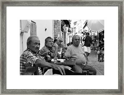 Framed Print featuring the photograph Back Streets Of Skiathos by Graham Hawcroft pixsellpix