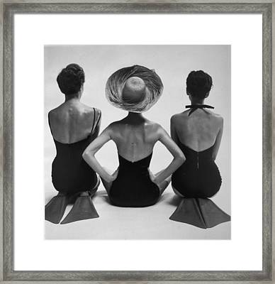 Back View Of Fashion Models In Swim Framed Print by Everett