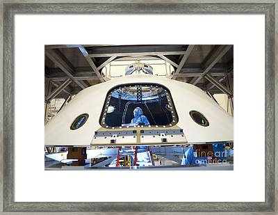 Backshell Preparation Framed Print by NASA/Jim Grossmann