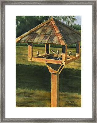 Backyard Birdie Bistro Framed Print by Marsha Elliott