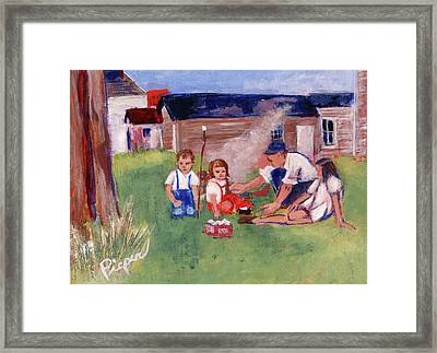 Backyard Picnic In Rural Grove Framed Print