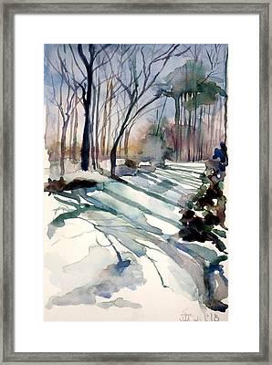 Backyard Snow Framed Print by Judith Scull