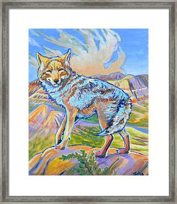 Framed Print featuring the painting Badland Coyote by Jenn Cunningham