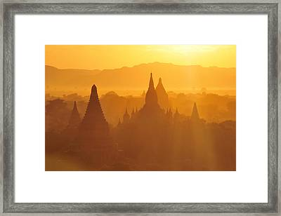 Bagan Stupas In Sunset Light Framed Print by Huang Xin